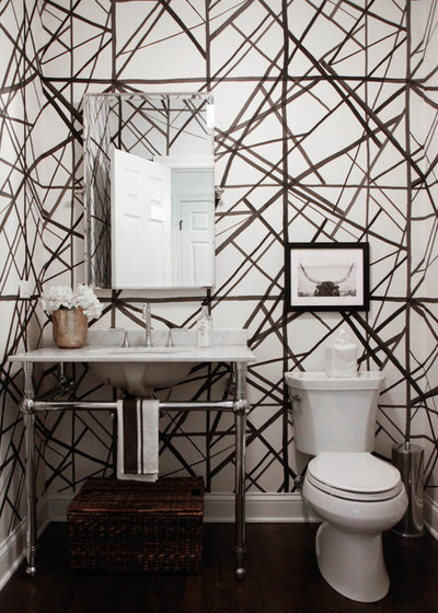 Transitional Powder Room by Park and Oak Design