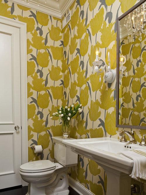 75 Yellow Dark Wood Floor Powder Room Design Ideas - Stylish Yellow ...