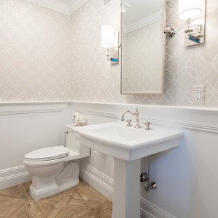 На фото: маленький туалет в стиле современная классика с унитазом-моноблоком, серыми стенами, полом из керамической плитки и раковиной с пьедесталом с