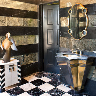 Large eclectic marble tile marble floor and multicolored floor powder room photo in Louisville with furniture-like cabinets and an undermount sink