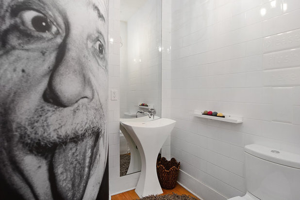 Eclectic Powder Room by Hudson Place Realty