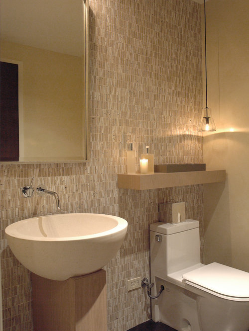 Contemporary Beige Tile Powder Room Idea In Chicago With A One Piece Toilet,  Beige