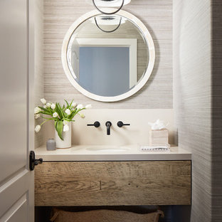 Photo of a small coastal cloakroom in San Luis Obispo with distressed cabinets, beige walls, a submerged sink, beige floors, open cabinets, travertine flooring and white worktops.