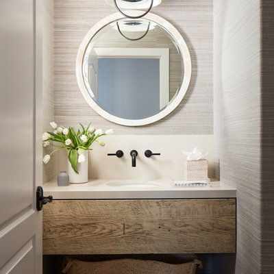 Inspiration for a small coastal beige floor and travertine floor powder room remodel in San Luis Obispo with distressed cabinets, beige walls, an undermount sink, open cabinets and white countertops