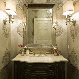 Klassische Gästetoilette mit Unterbauwaschbecken und beiger Waschtischplatte in Philadelphia