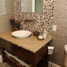 eclectic powder room by Marie Rego Designs LLC AKBD