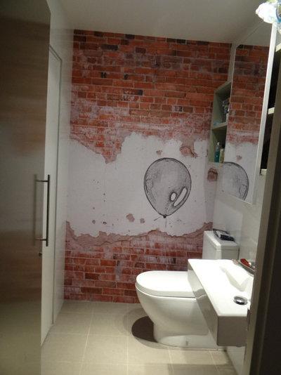 Modern Powder Room by Sydney Wallpapering / Crème De La Crème Décor