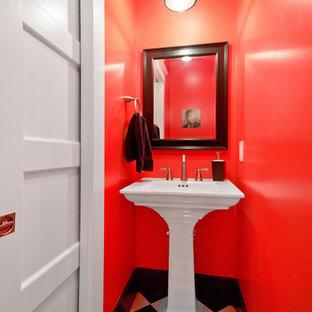 Свежая идея для дизайна: маленький туалет в стиле кантри с раковиной с пьедесталом, керамической плиткой, полом из керамической плитки, разноцветным полом, белой столешницей, оранжевой плиткой и оранжевыми стенами - отличное фото интерьера