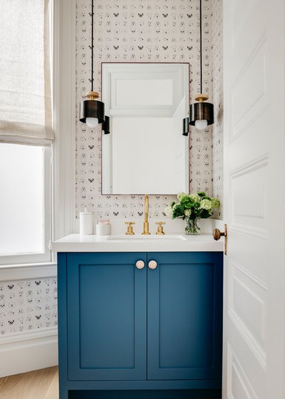 Transitional Powder Room by IDF Studio