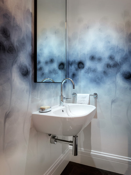 Inspiration For A Contemporary Powder Room Remodel In San Francisco With Wall Mount Sink