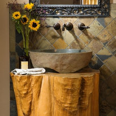 Rustic Powder Room by Summit Log & Timber Homes