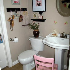 Eclectic Powder Room Pink Powder Room