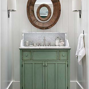 Inspiration for a medium sized country cloakroom in San Francisco with shaker cabinets, green cabinets, white walls, marble flooring, a submerged sink, marble worktops, black floors and grey worktops.