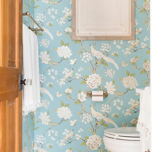 Design ideas for a mid-sized country powder room in Minneapolis with multi-coloured walls, porcelain floors and multi-coloured floor.