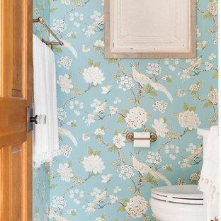 Idee per un bagno di servizio country di medie dimensioni con pareti multicolore, pavimento in gres porcellanato e pavimento multicolore