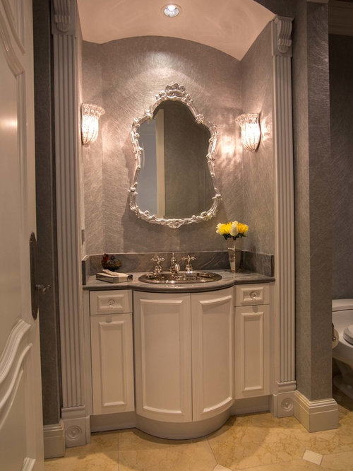 Powder Room   Traditional Powder Room Idea In Miami With A Drop In Sink