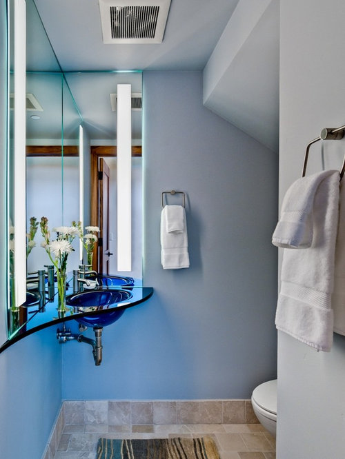 corner sink bathroom. Inspiration for a small contemporary powder room remodel in San Francisco  with blue walls and Small Corner Sink Bathroom Houzz