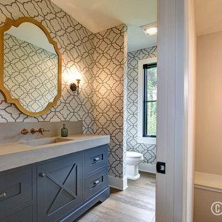 Idee per un bagno di servizio country con ante con riquadro incassato, ante blu, pareti multicolore, pavimento in legno massello medio, lavabo integrato, top in cemento, pavimento beige e top grigio