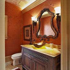 Mediterranean Powder Room by Michael Lyons Architect