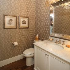 Transitional Powder Room by HomeFront Interior Design