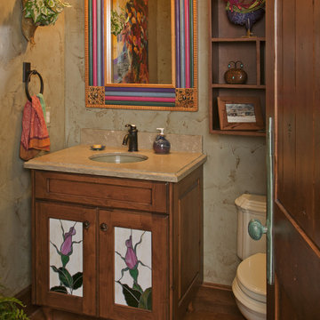 Powder bath with stained glass