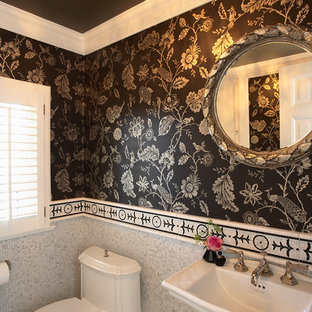 Elegant mosaic tile mosaic tile floor powder room photo in Minneapolis with a pedestal sink and a one-piece toilet