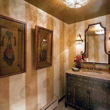 Mediterranean Powder Room by lisa limited
