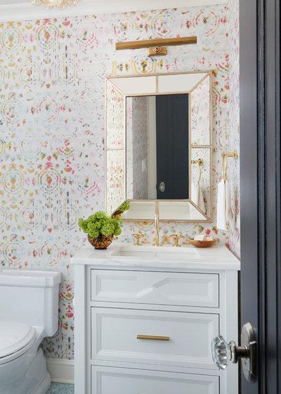 Transitional Powder Room by Amy Kartheiser Design