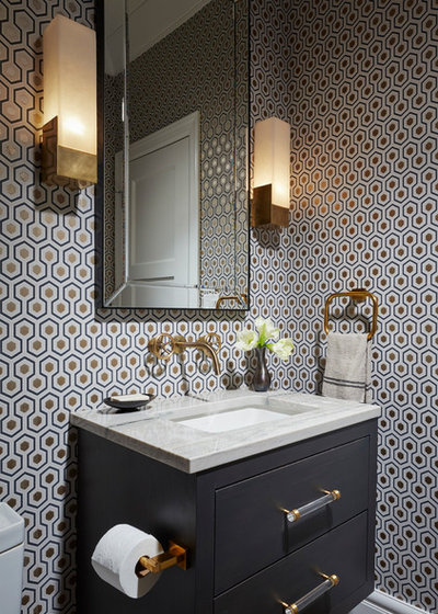 Transitional Powder Room by Amy Kartheiser Design