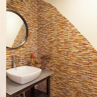 Inspiration for a contemporary cloakroom in Detroit with a vessel sink, open cabinets, dark wood cabinets, glass worktops, red tiles, brown tiles, white walls, slate flooring and matchstick tiles.