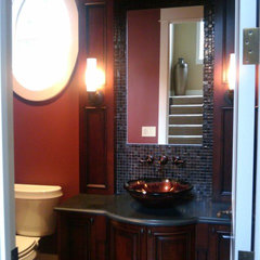 traditional powder room by Kara Bowman