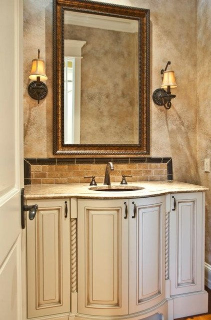 Traditional Powder Room by ARTifact Interior Design