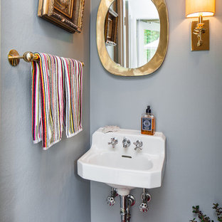 Trendy powder room photo in San Francisco with a wall-mount sink