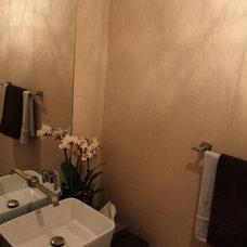 Modern Powder Room by cj5 design