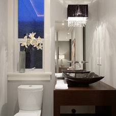 Contemporary Powder Room by Clay Construction Inc.