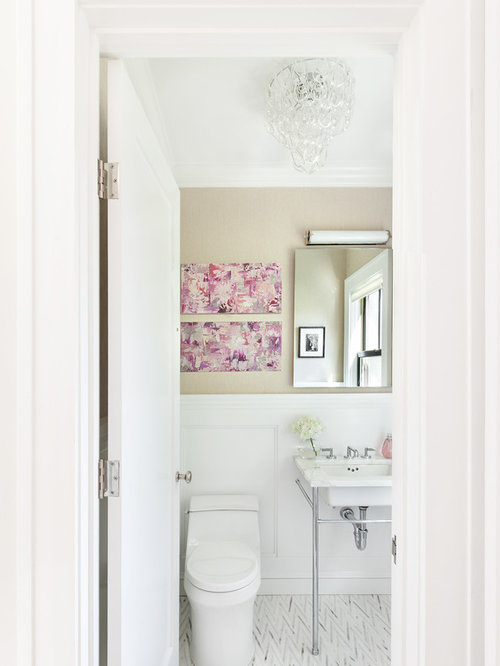 Powder Room Design Ideas, Remodels & Photos with Beaded Inset Cabinets