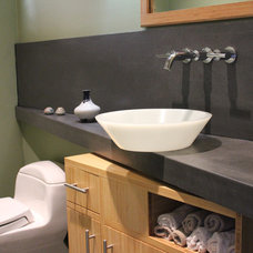Contemporary Powder Room by Stone Cold Concrete