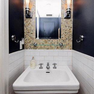Идея дизайна: маленький туалет в стиле современная классика с разноцветной плиткой, стеклянной плиткой, разноцветными стенами, пробковым полом, раковиной с пьедесталом, коричневым полом, стеклянными фасадами, темными деревянными фасадами, раздельным унитазом, столешницей из оникса и белой столешницей