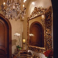 Mediterranean Powder Room by Donna Livingston Design