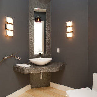 Trendy Powder Room Photo In Other With A Vessel Sink And Gray Countertops