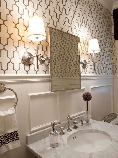 moroccan inspired wallpaper houzz 30 gorgeous wallpapered bathrooms