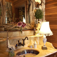 Rustic Powder Room by Gabberts Design Studio
