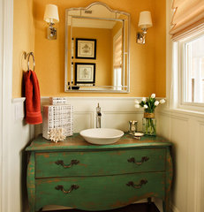 traditional powder room by Garrison Hullinger Interior Design Inc.