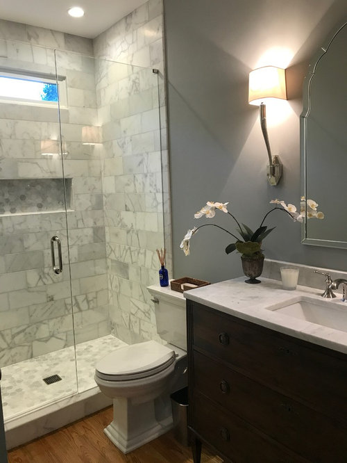 25 best atlanta marble tile powder room ideas remodeling pictures example of a mid sized classic white tile and marble tile medium tone wood floor ppazfo