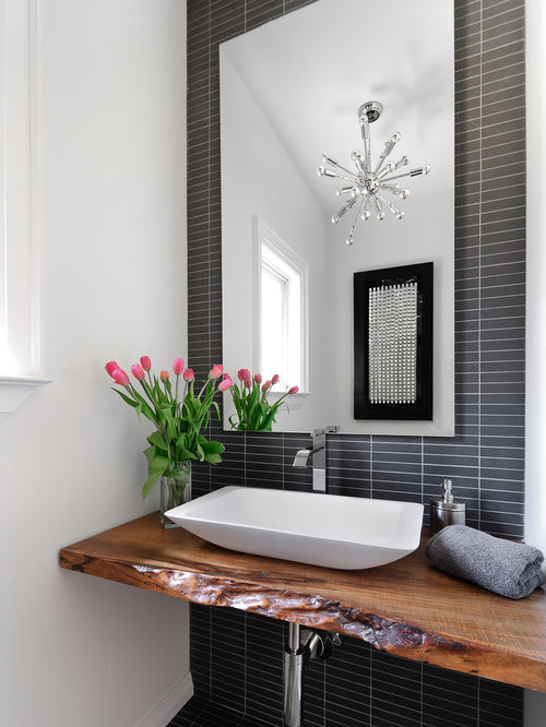 Example Of A Trendy Powder Room Design In Toronto With A Vessel Sink