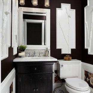 На фото: маленький туалет в стиле современная классика с врезной раковиной, фасадами с декоративным кантом, темными деревянными фасадами, мраморной столешницей, раздельным унитазом, разноцветной плиткой, плиткой мозаикой, коричневыми стенами и мраморным полом