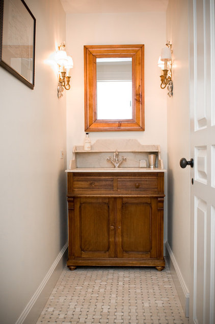 Farmhouse Powder Room by LKM Design