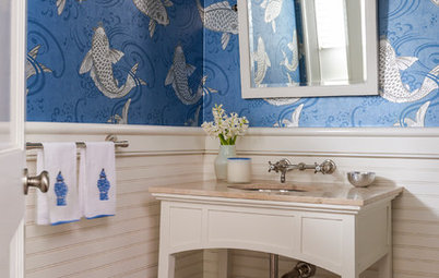 8 Powder Rooms With Pattern-Happy Wallpaper