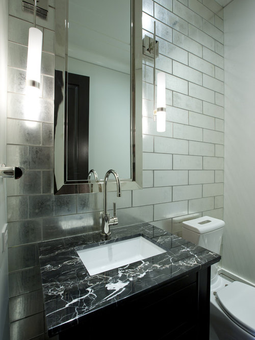 Elegant Trendy Powder Room Photo In Chicago With An Undermount Sink Photo