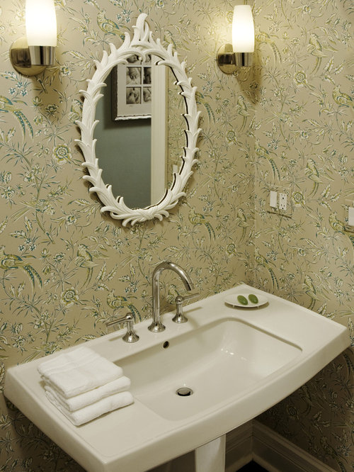 contemporary powder room idea in chicago with a pedestal sink - Powder Room Pedestal Sink